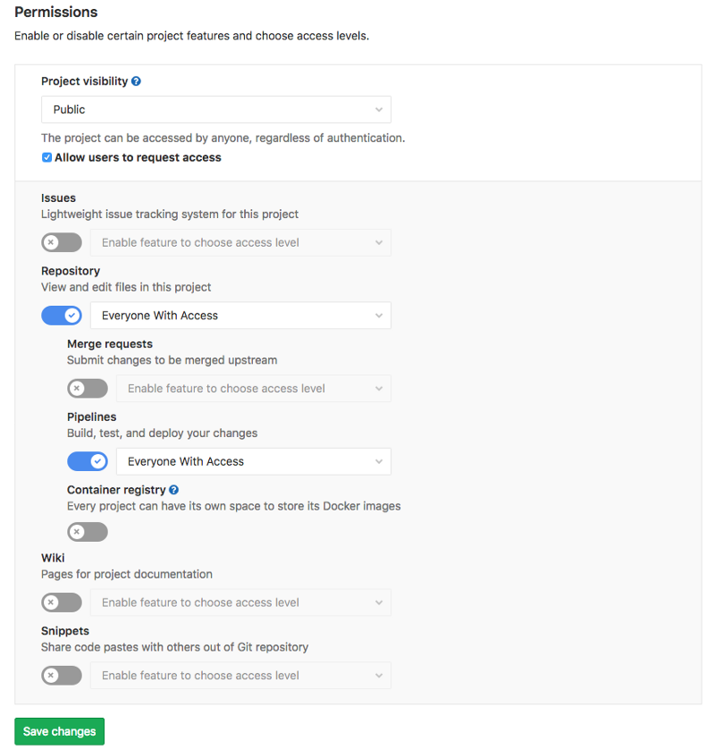 GitLab permission settings