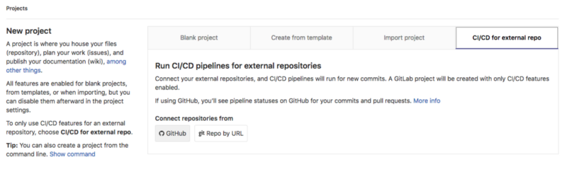 Create a new project in Gitlab